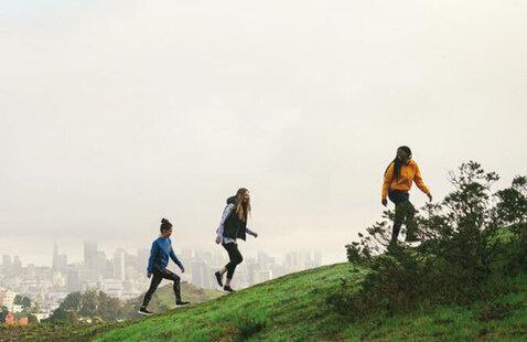 people hiking up.