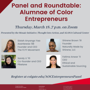 Alumnae of Color Entrepreneurs: Panel and Roundtable Discussion