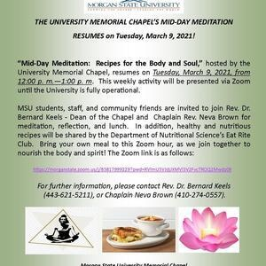 """""""Mid-Day Meditation: Recipes for the Body and Soul"""" with the University Memorial Chapel"""