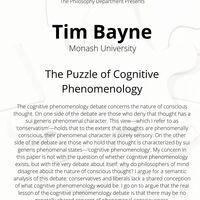 Philosophy Colloquia: Tim Bayne (Monash University) - The Puzzle of Cognitive Phenomenology