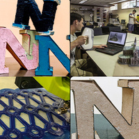 Four-grid of images including from top left to bottom right: pink, blue and black cardboard Ns, man using a 3D scanner. intricate cardboard laser cut art piece, large cardboard University of Nevada block N