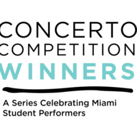 Concerto Competition Winners text a squiggly line then A Series Celebrating Student Performers text all in black and teal