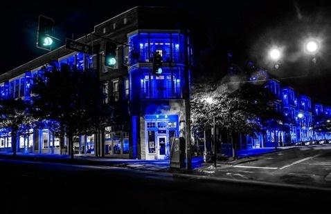 blue lights on buildings
