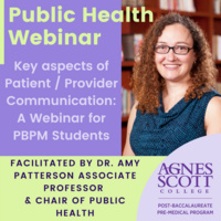 Graphic with photo of Amy Patterson and text reading: Public Health Webinar