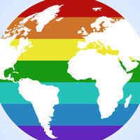 globe in rainbow colors