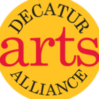 logo of black and red text on golden yellow circle reading: Decatur Arts Alliance