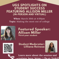 UGS Spotlights on Student Success Series feat. Allison Miller