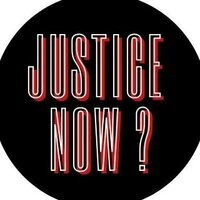 Justice Now? against a black circular background