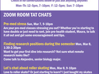 TAT CHATS: occur weekly all term with changing topics.
