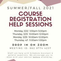Course registration help session and dates