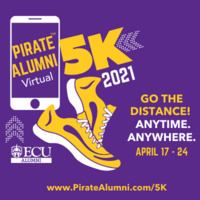 Pirate Alumni Virtual 5K, Go the Distance! Anytime. Anywhere. April 17-24