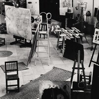 Joaquim Gomis Serdañons. Creation Espacio Joan Miró (studio setting with works in progress). c. 1950. Gelatin silver print. Gift of Arts Documenta.