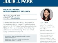 A talk and Q&A with author Julie J. Park on 'Race on Campus: Debunking Myths with Data'