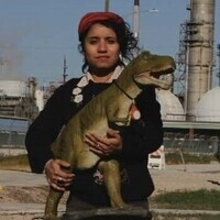woman and t rex