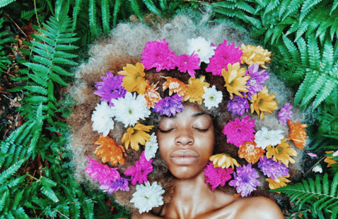 Black Woman with flower head wreath