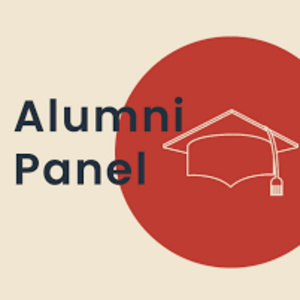 """Alumni panel"" graphic with tan background and red semicircle with graduation cap icon"