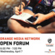 """A person writes in a notebook while looking at their phone for reference. """"Orange Media Network Open Forum"""" is displayed under the image."""