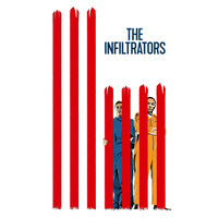 """Poster from """"The Infiltrators"""" showing two main characters behind red stylized prison bars, vertical to resemble the American flag."""