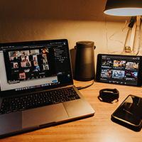 Laptop showing multi media collaboration