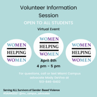 Text: Volunteer Information Session. Background: Teal.