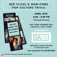 Text: Red Flags & Rom-Coms Pop Culture Trivia. Background: Teal