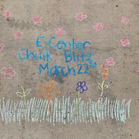 sidewalk chalk has flowers and says ecenter chalk blitz march 22