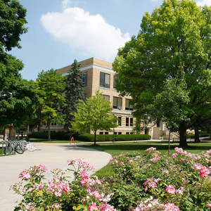 Flowers on campus with Hayes hall