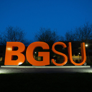 BGSU letters lit up at night