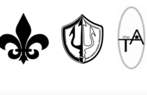 Logos of Themis Asteri, The Kali Praxi, and The Fleur-de-Lis Club