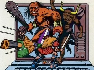 A visual representation of a video game with monsters attacking a knight with weapons.