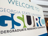 """A sign stating """"Welcome to GSURC"""" greets attendees at a previous conference."""