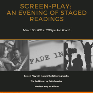 """""""Screen-play: and evening of staged readings"""", black and white photos of staged readings"""