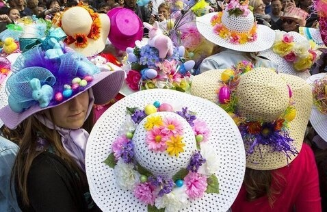 ladies in Easter bonnets