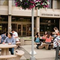 Students sitting in the Stevenson Union Courtyard