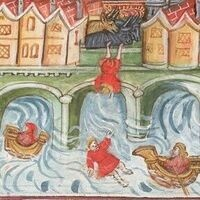 Detail of a miniature of a boy, fallen from London Bridge after being pushed by cattle, being rescued by rivermen on the Thames, from John Lydgate's Lives of Saints Edmund and Fremund (between 1461 and c. 1475, Yates Thompson 47, f. 94v)