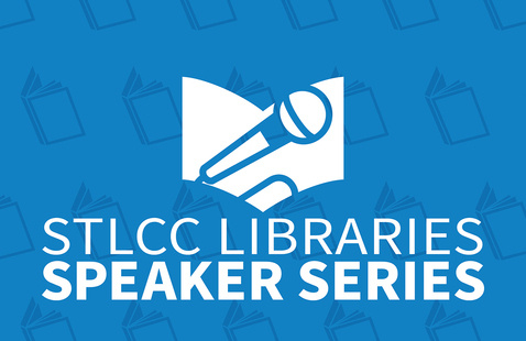 """Logo graphic of a microphone in front of book. Text reads """"STLCC Libraries Speaker Series"""""""