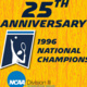 A graphic depicting the 25th anniversary of the 1996 UC Santa Cruz Men's Tennis team which won the NCAA Division III national championship