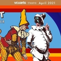 part of the show poster, an illustration of two people dressed in traditional commedia costumes