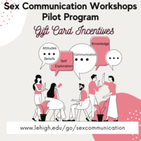 Sex Communication Workshop Pilot Program, Gift Card Incentives, lehigh.edu/go/sexcommunication, image of people talking with word bubbles