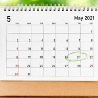 Picture of a May 2021 calendar with Friday, May 21 circled in green.