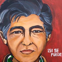 Painting of Cesar Chavez. Written on painting 'Si Se Puede' (Yes We Can)