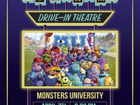 PC Cinema drive in theatre poster with the Monster's University poster on it. The Monster's University movie will be played on April 7th at 8:00PM in Zone 2 Lot 5.