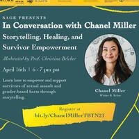 SAGE presents Take Back the Night — In Conversation with Chanel Miller: Storytelling, Healing, and Survivor Empowerment