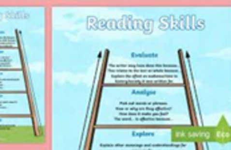 Ladder simulating steps in reading skill acquisition