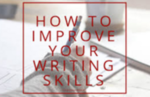 Image of hand writing in notebook with title how to improve your writing skills