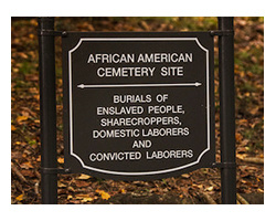 Sign designating the African American Cemetery Site