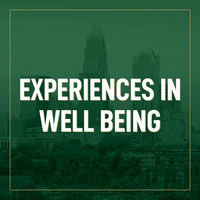 Green skyline with program title: Experiences in Well-Being