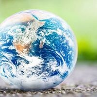 View of earth on green background
