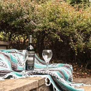 A wine bottle and wine glasses sit upon a blanket in the Garden.