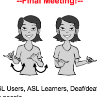 """The top reads """"Final Meeting."""" Below this is a black and white cartoon woman signing party. After the woman is details about the event."""